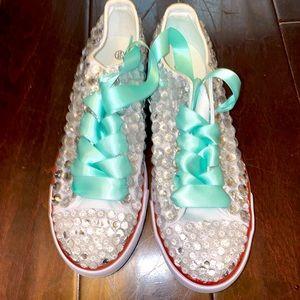 Women's Bedazzled Low Top Canvas Sneaker
